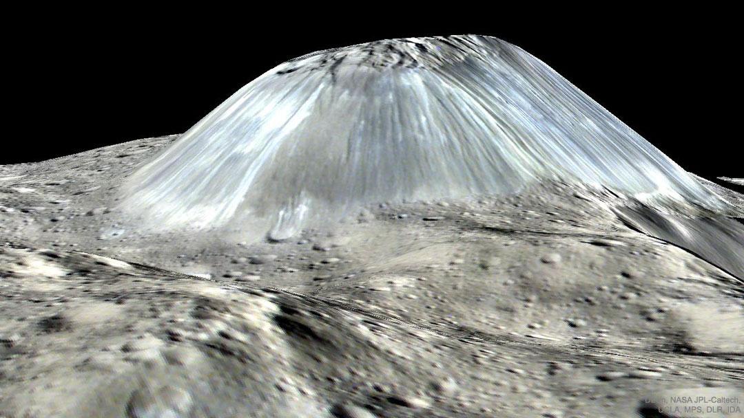 Montaña inusual Ahuna Mons en el asteroide Ceres
