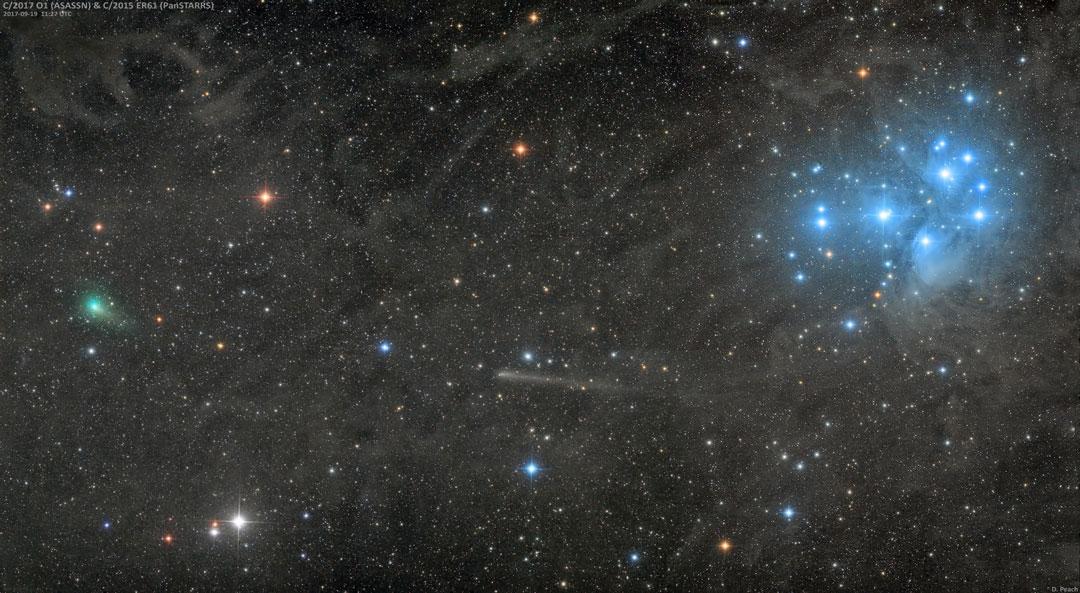 Dos cometas y un cúmulo de estrellas