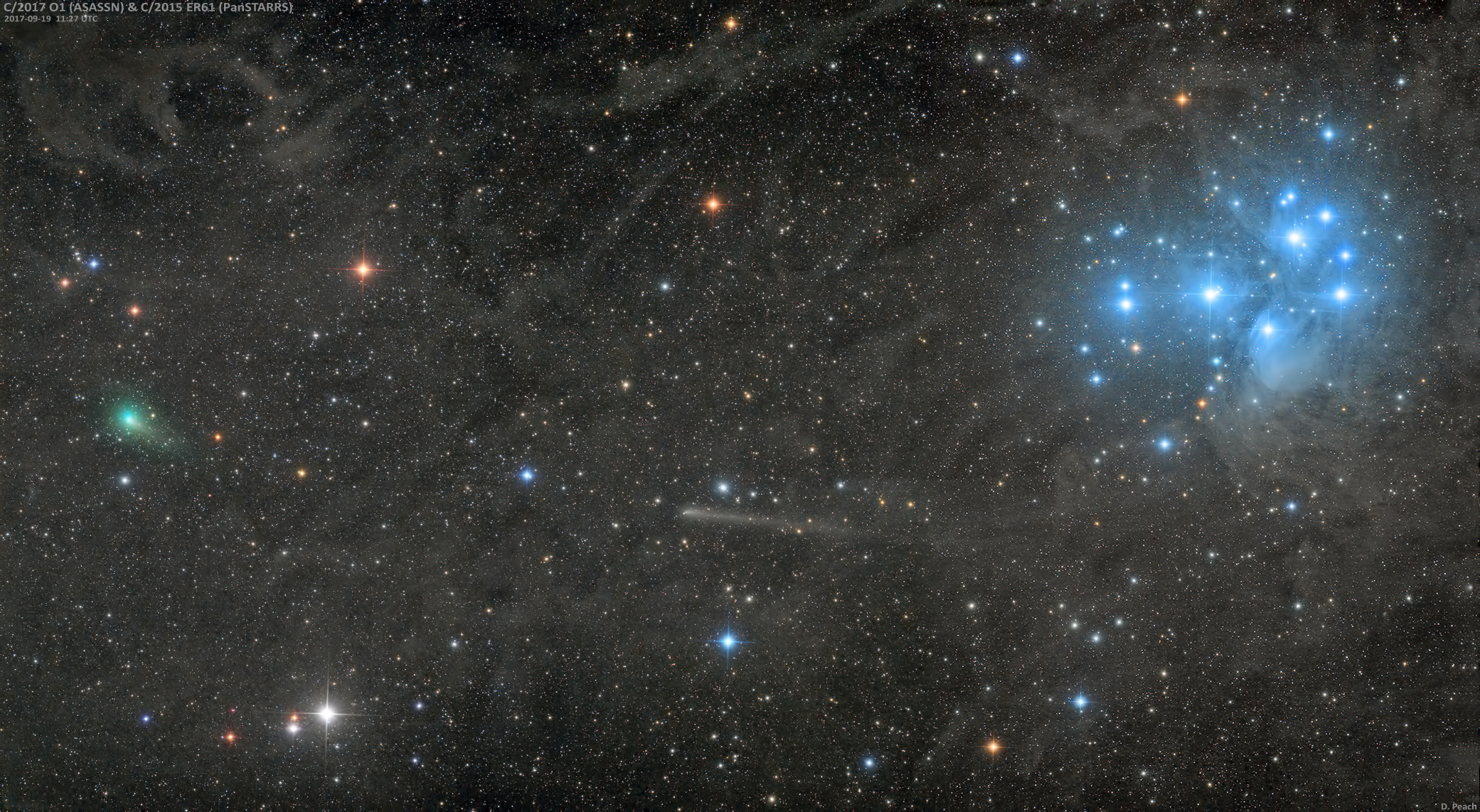Two Comets and a Star Cluster