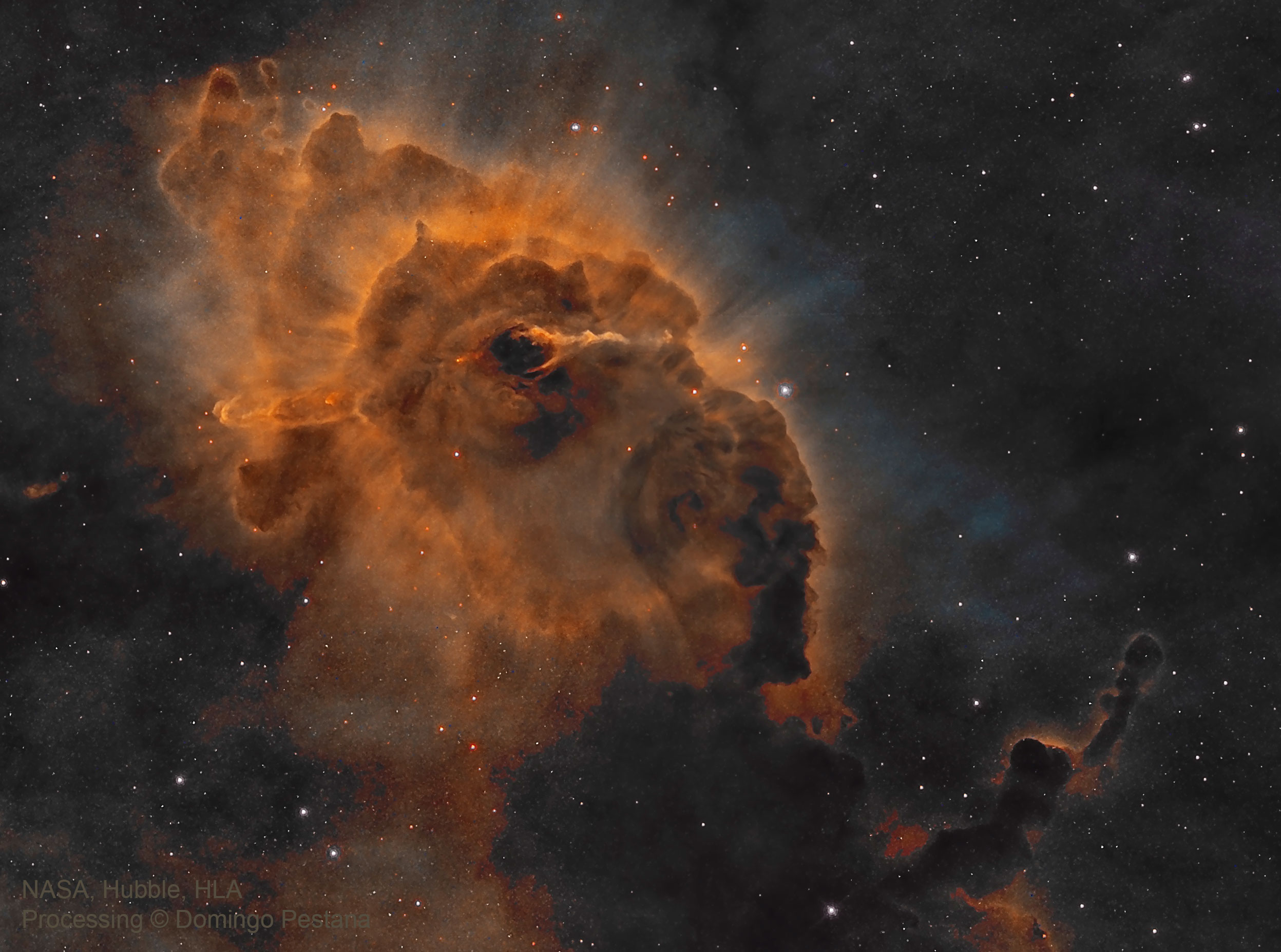 Apod 2017 december 6 hh 666 carina dust pillar with jet see explanation clicking on the picture will download the highest resolution version available fandeluxe Gallery