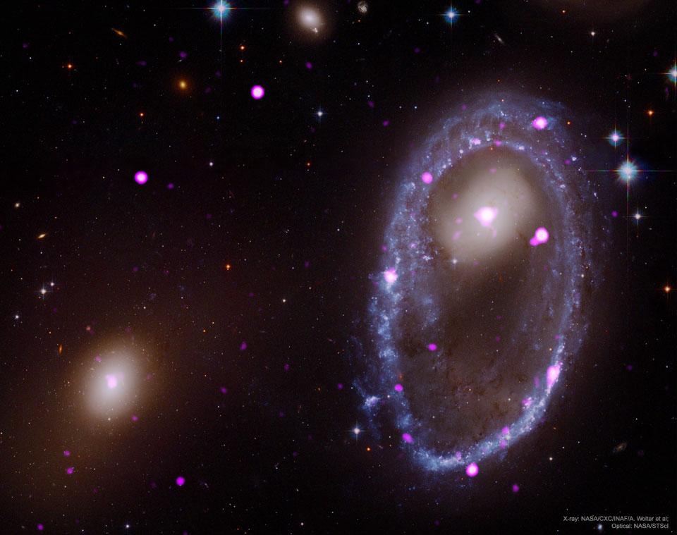 Colisión cósmica forja anillo galáctico