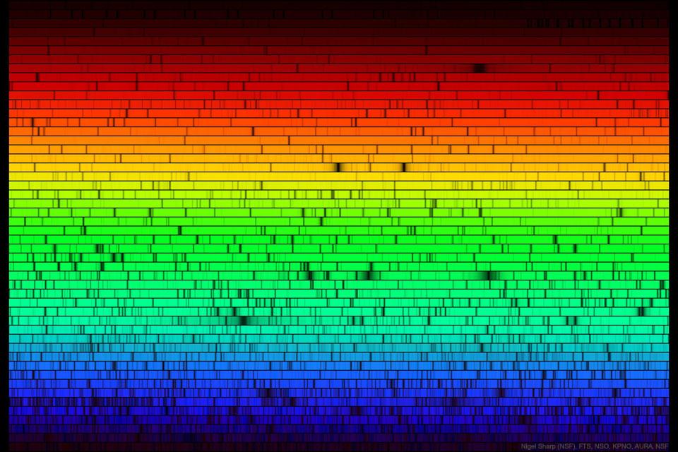 El espectro del Sol con sus colores perdidos