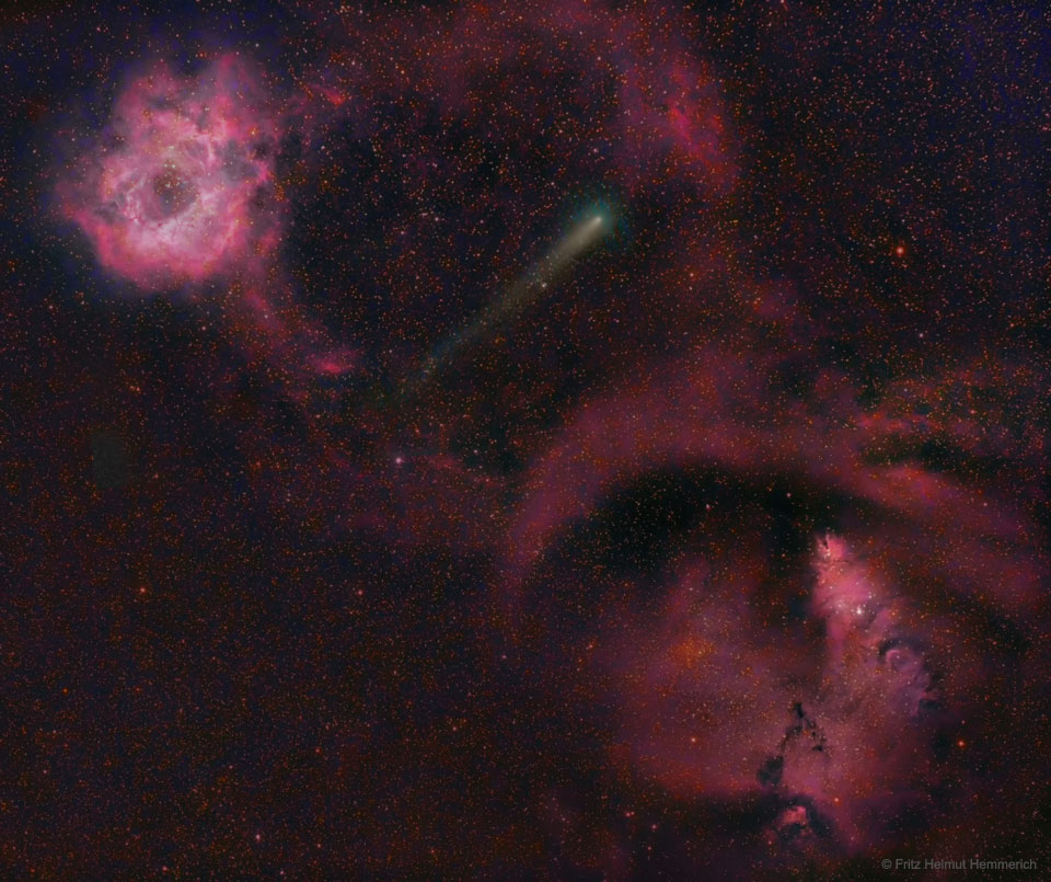 Cometa 12P entre nebulosas de Roseta Y Cono
