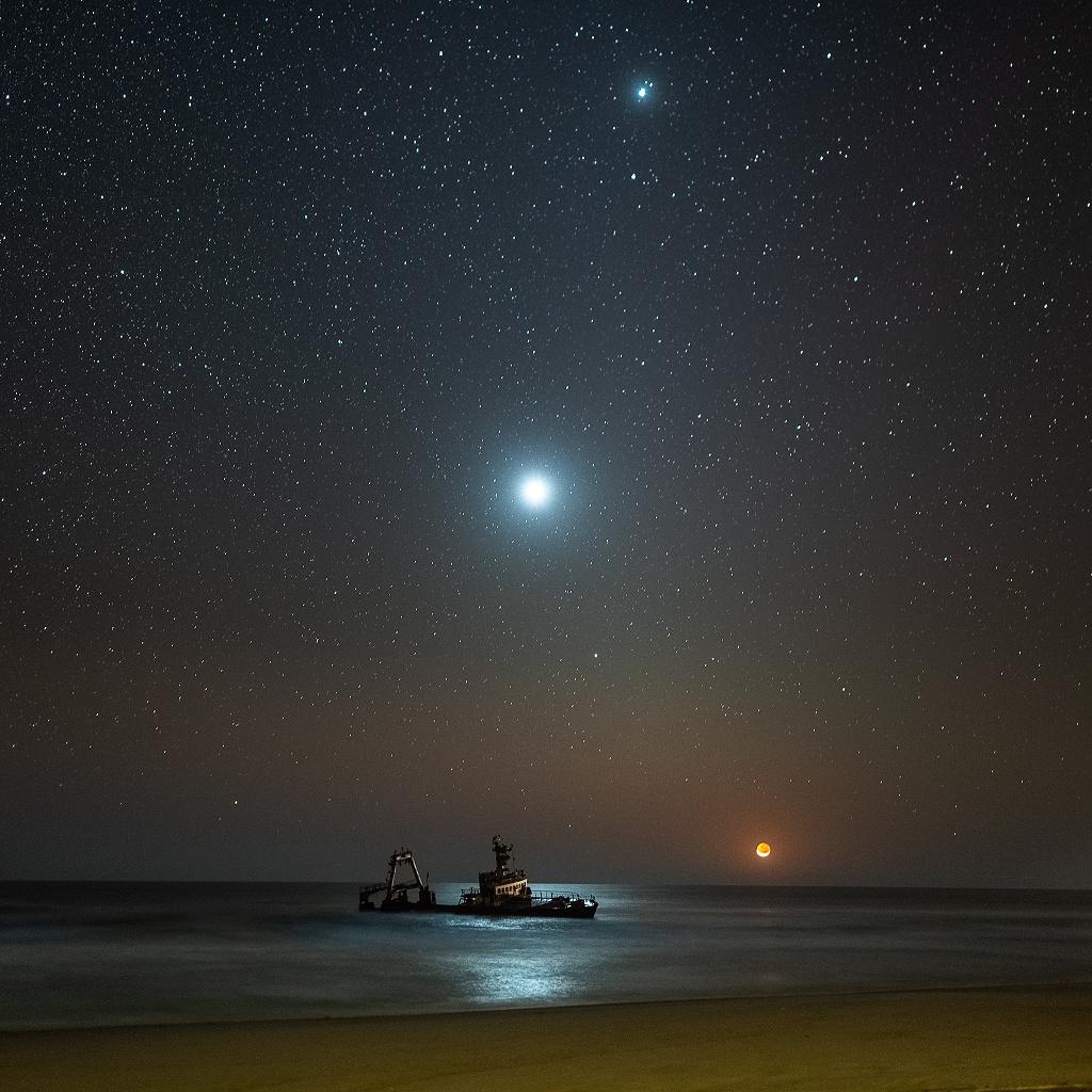 Naufragio con puesta lunar