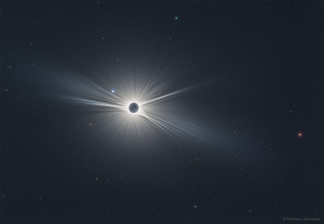 Vista de campo amplio del gran eclipse americano