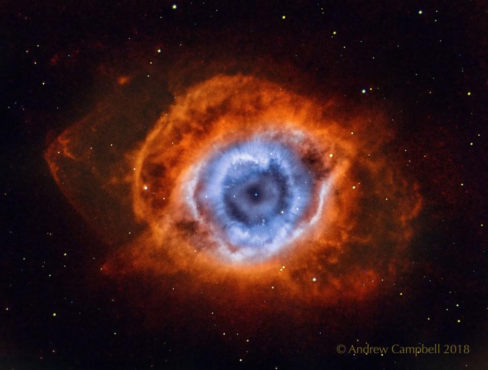 La nebulosa de la hélice en hidrógeno y oxígeno