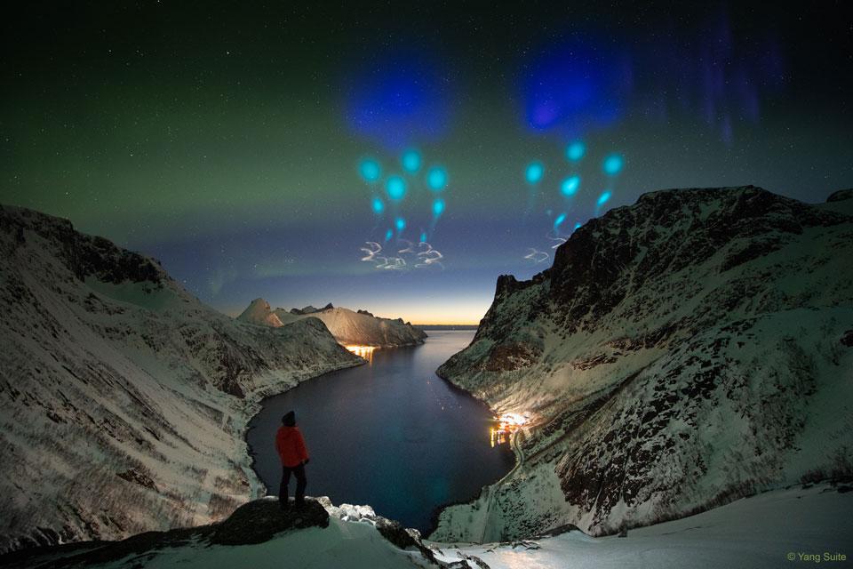 Trazas de vapor de AZURE sobre Noruega