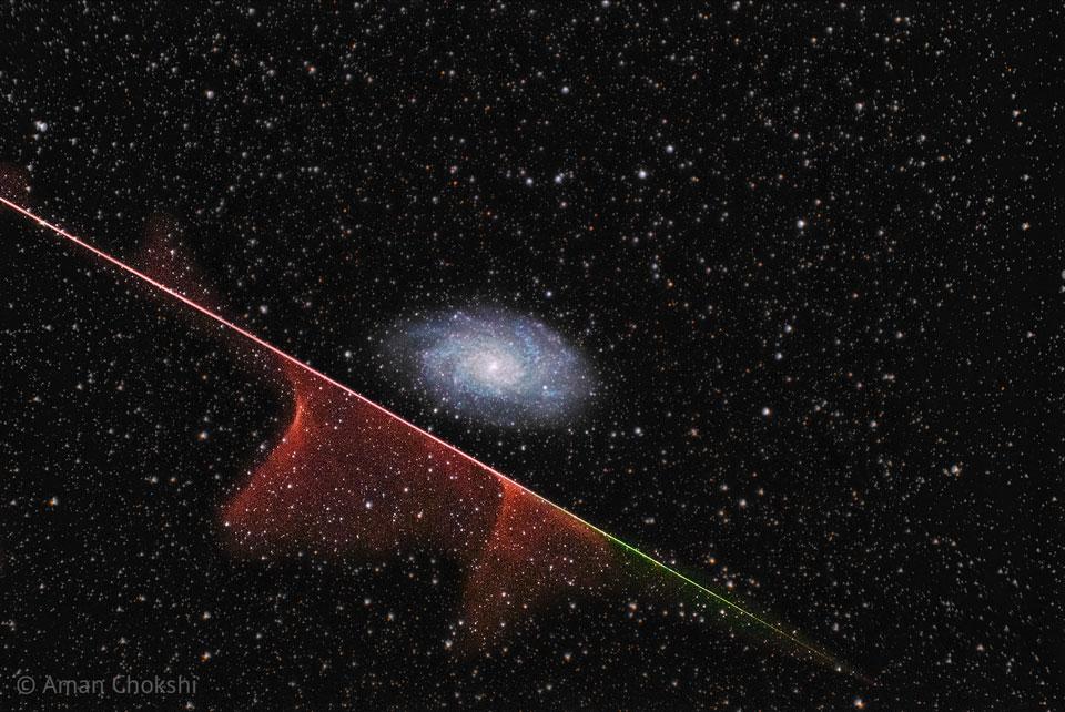 Meteoro y galaxia