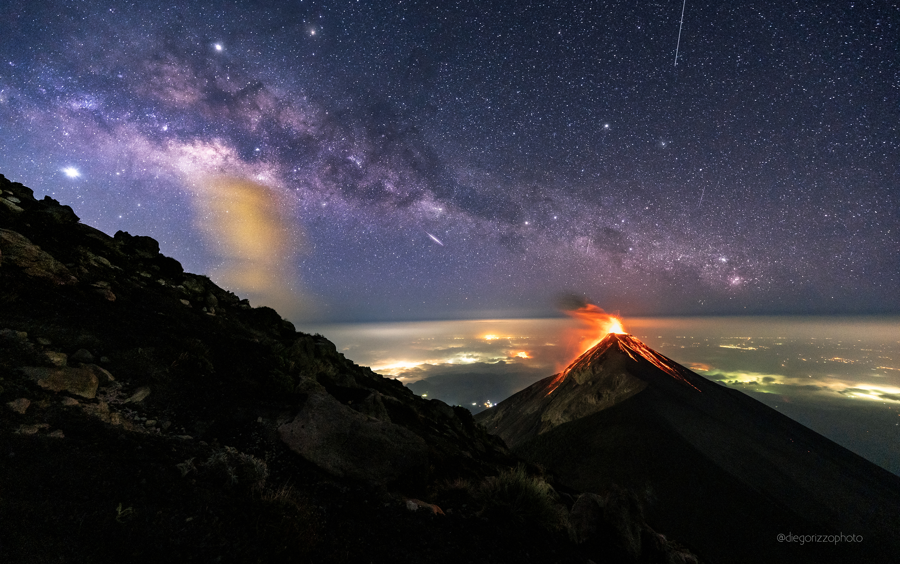 A Volcano of Fire under a Milky Way of Stars