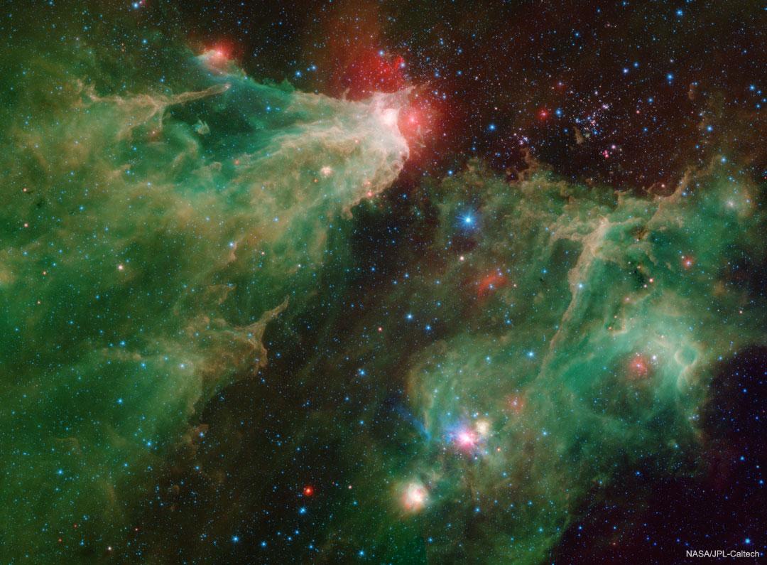 La nebulosa de la cueva en infrarrojo de Spitzer