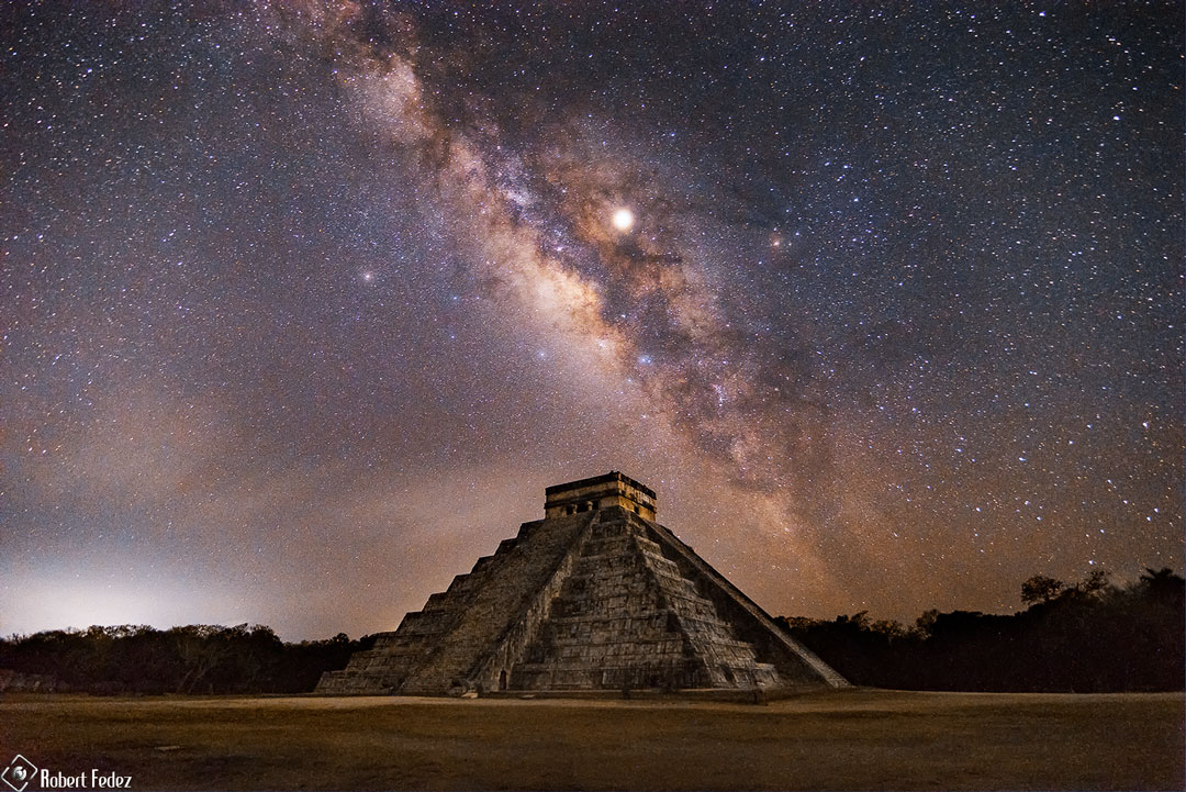 Milky Way over Pyramid of the Feathered Serpent