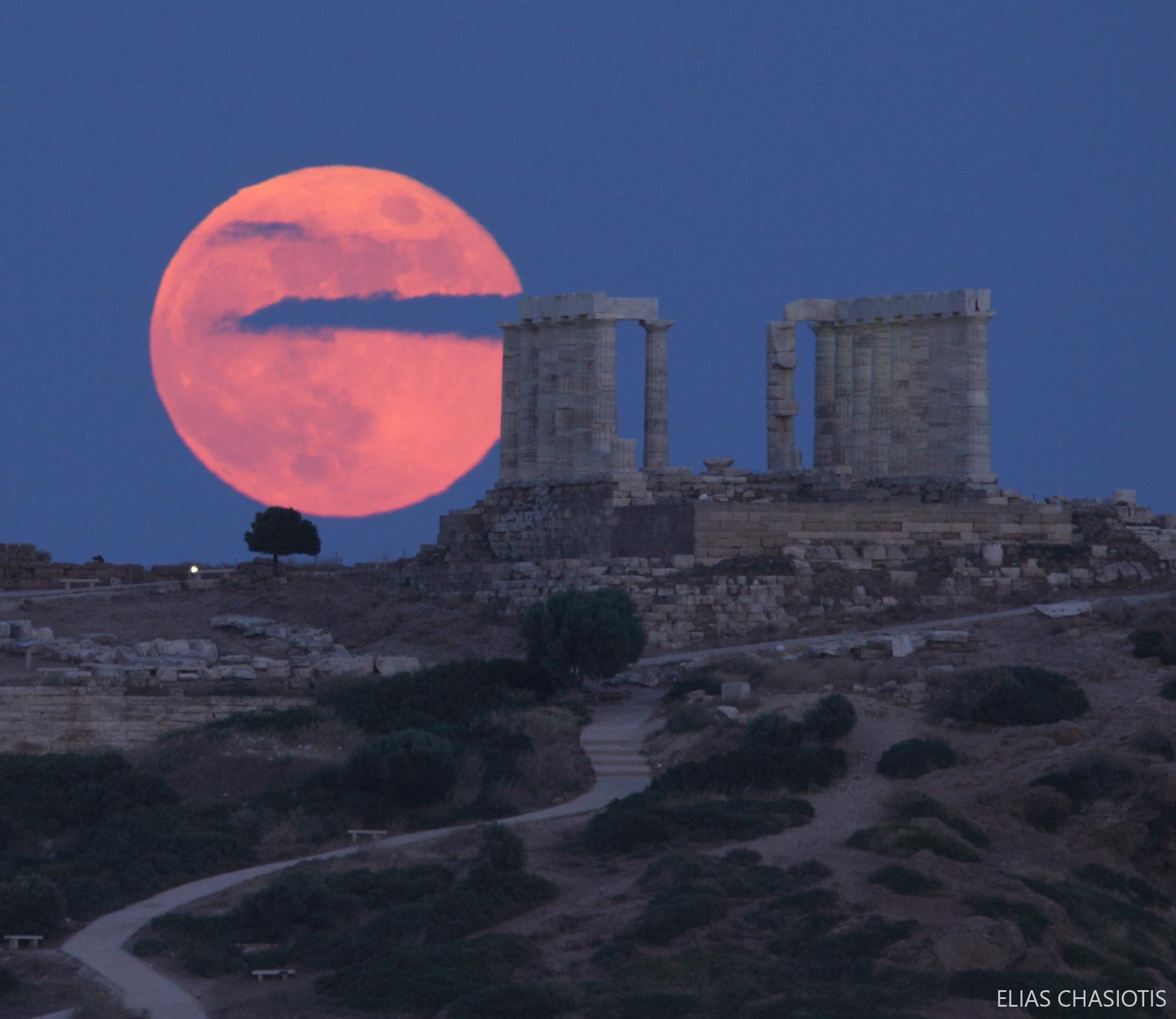 Strawberry Moon over the Temple of Poseidon