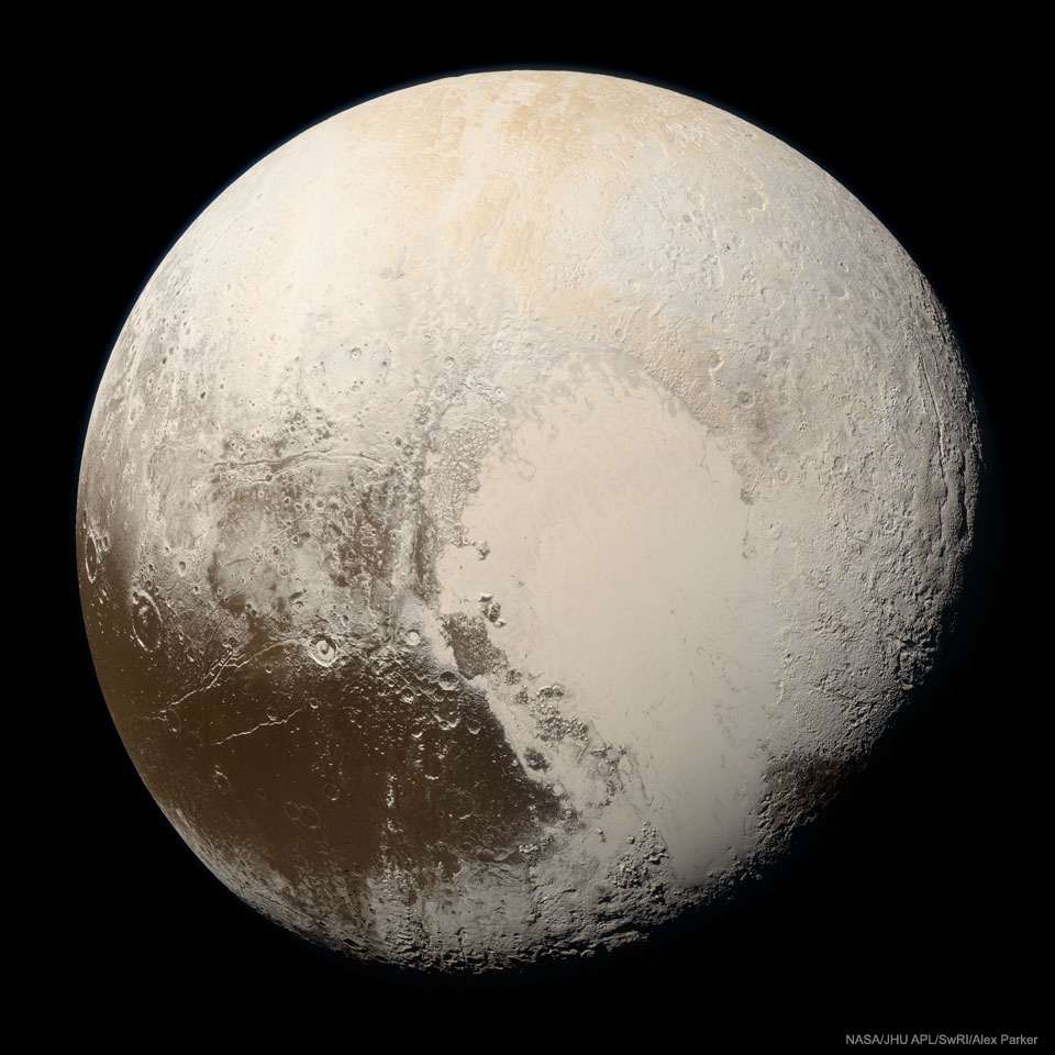 Pluto in true colour
