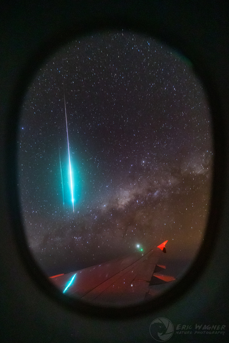 Mid-Air Meteor and Milky Way