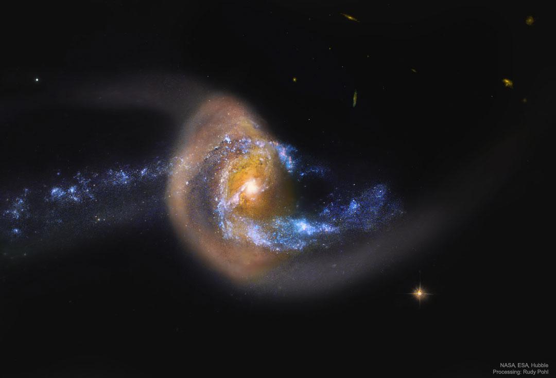 NGC 7714: estallido estelar después de colisión galáctica