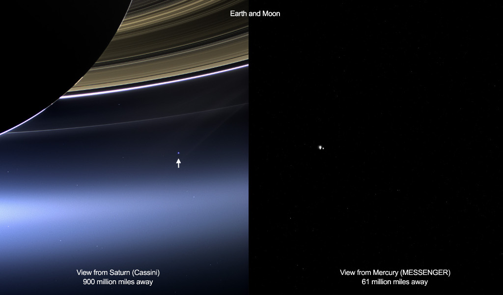 Earth from Saturn and Mercury