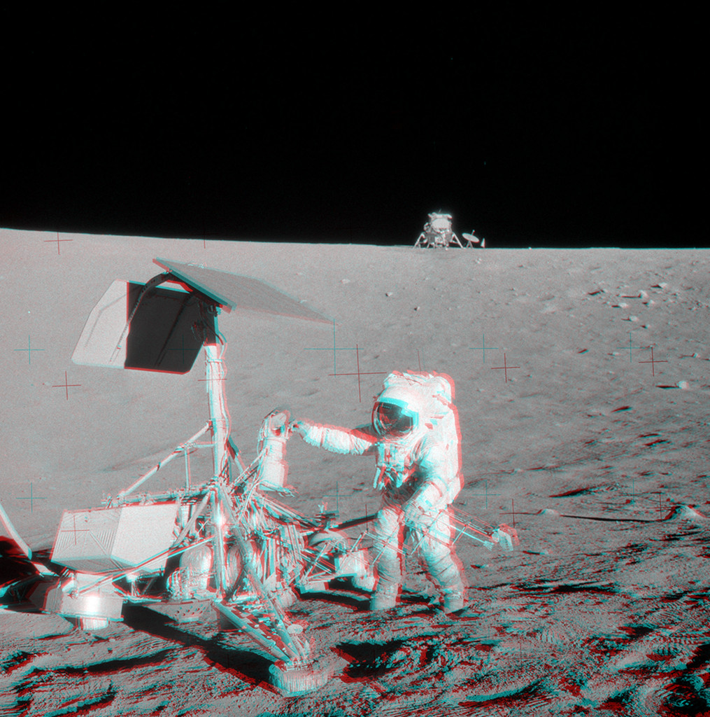 Vista estéreo de Apollo 12 y Surveyor 3