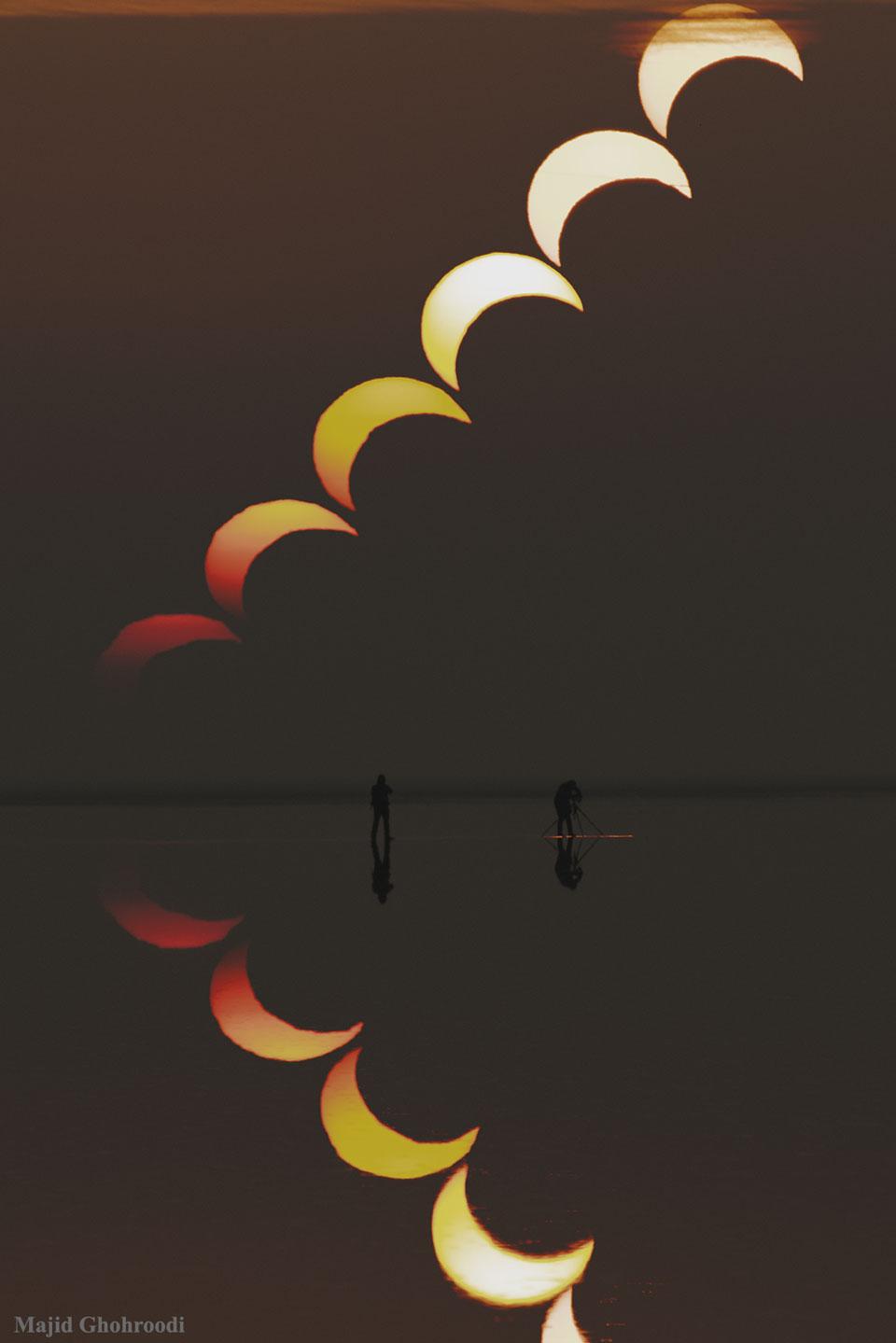 Secuencia de eclipse solar parcial reflejada