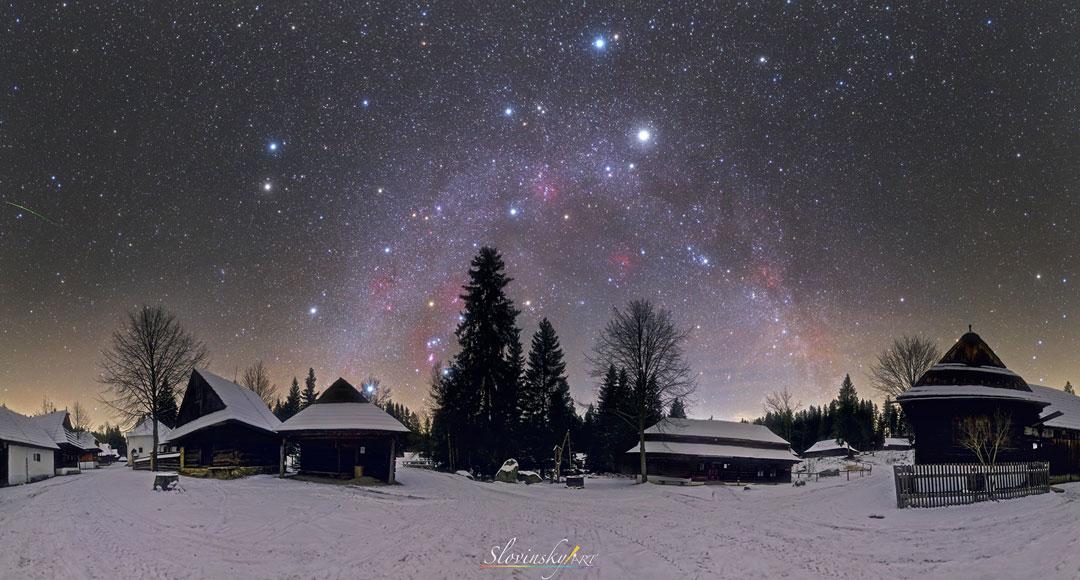 Un panorama de cielo de invierno del norte