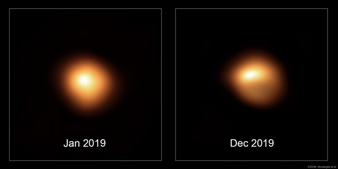Měnící se povrch slábnoucí Betelgeuse