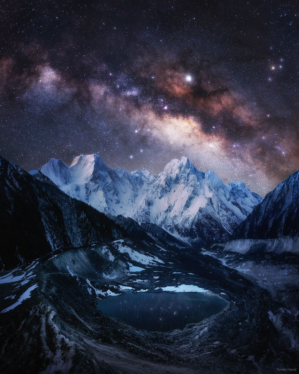 The Milky Way over Snow Capped Himalayas