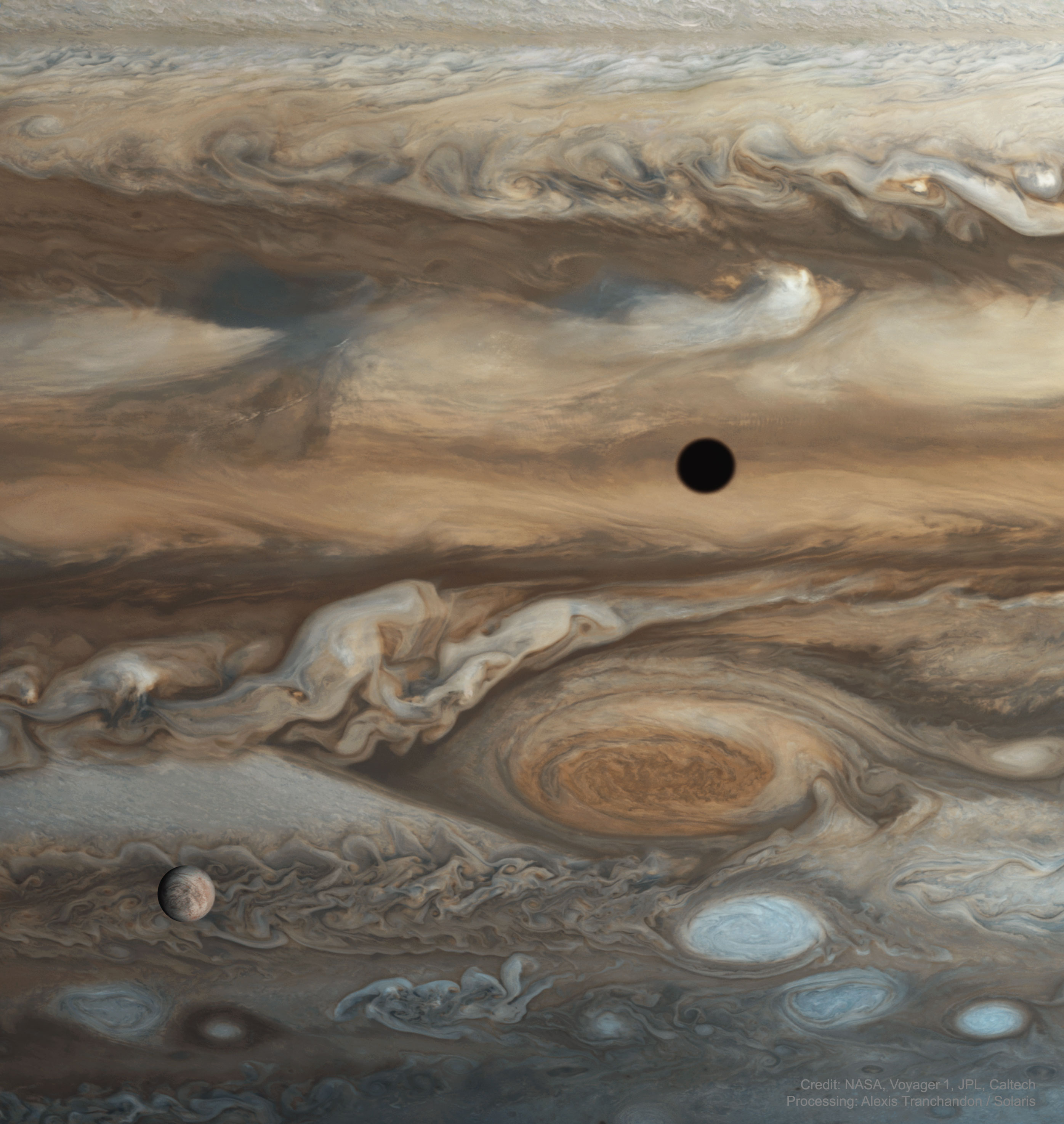 Europa and Jupiter from Voyager 1