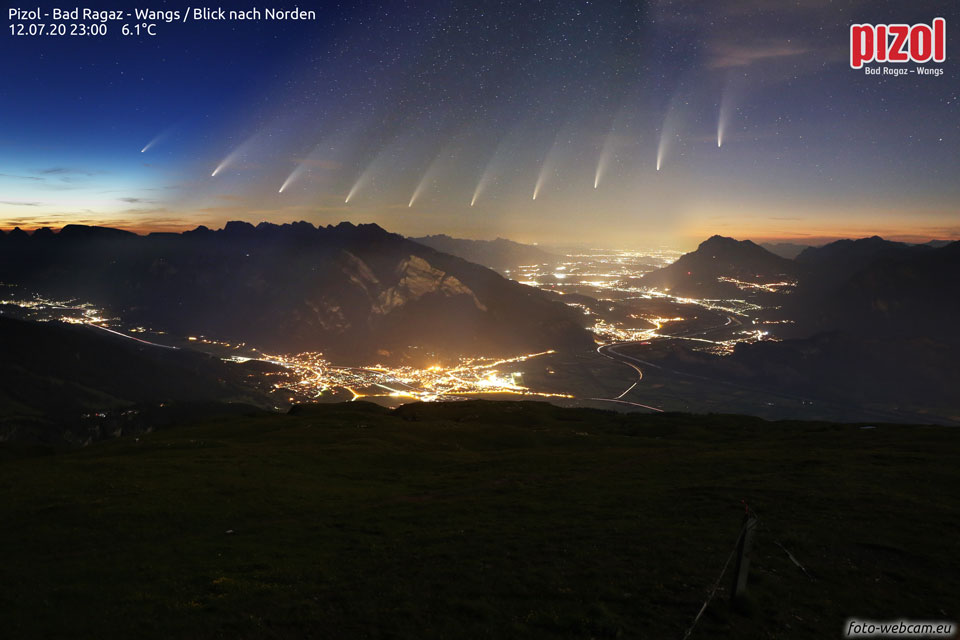 Comet NEOWISE over the Swiss Alps