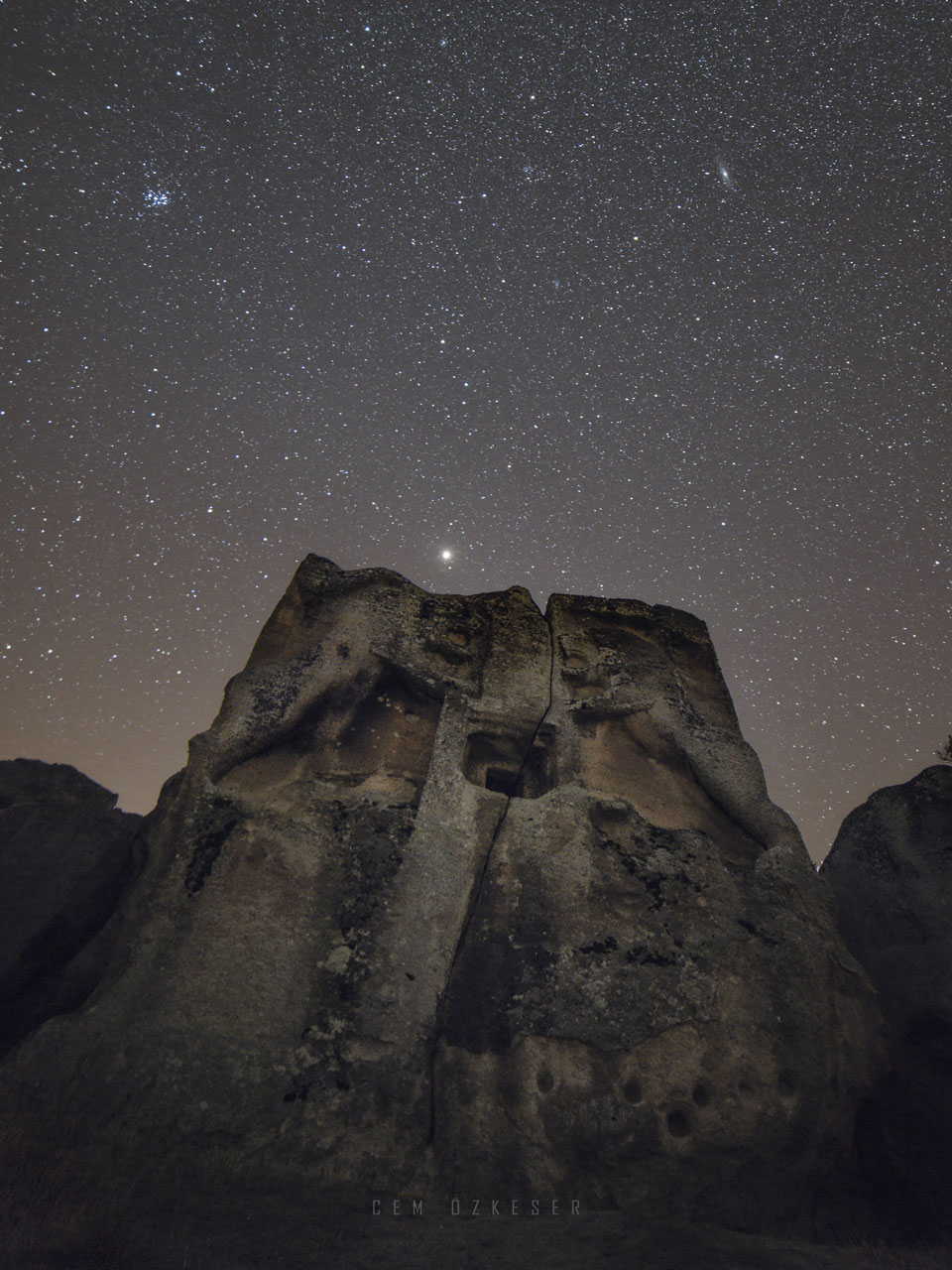 Mars, Pleiades, and Andromeda over Stone Lions
