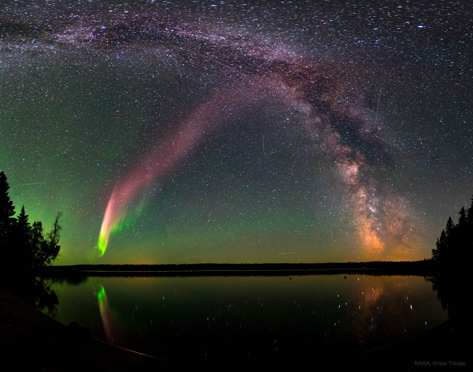 A Glowing STEVE and the Milky Way