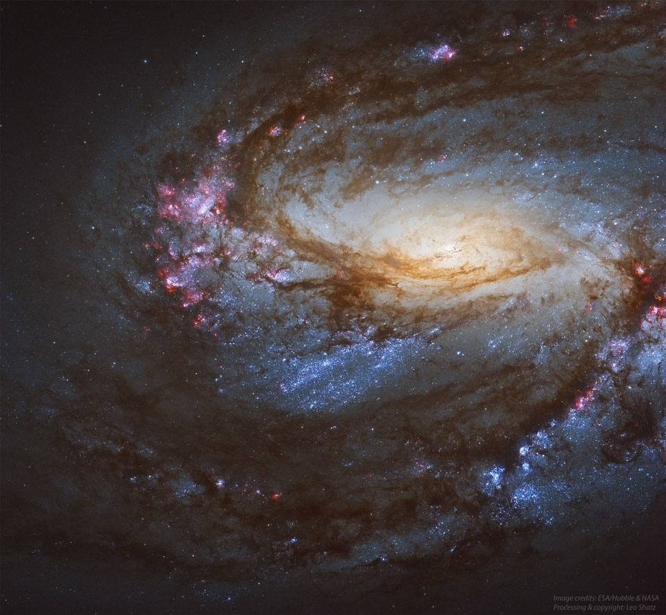 Spiral Galaxy M66 from Hubble