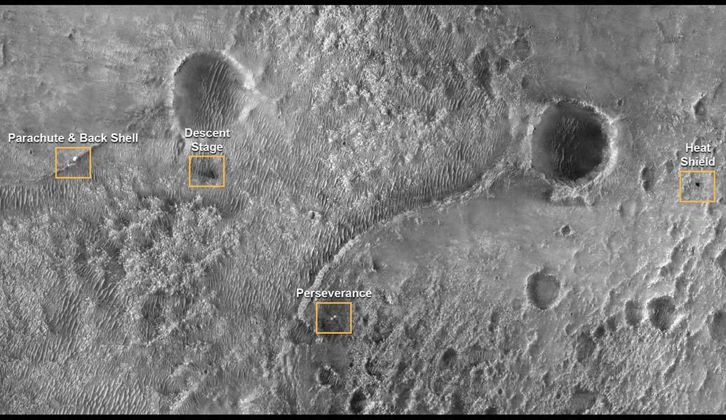 Perseverance Landing Site from Mars Reconnaissance Orbiter