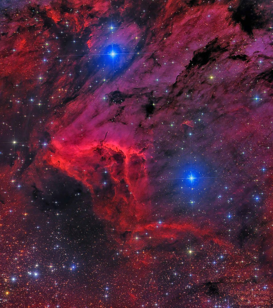 The Pelican Nebula in Red and Blue