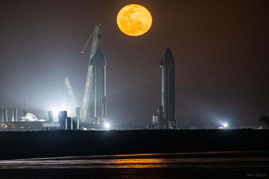 Moon Rising Between Starships
