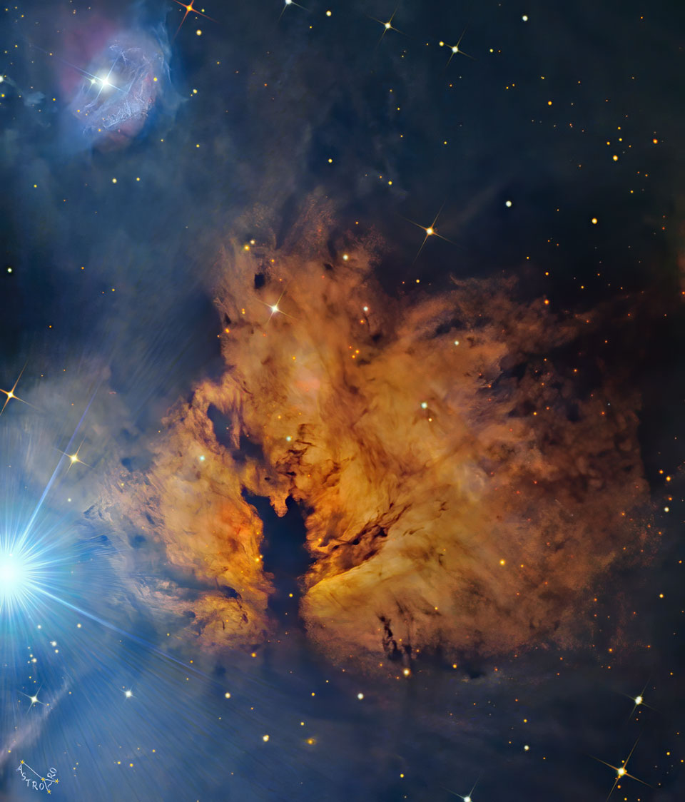 A picture of the center of the Flame Nebula is shown, with the  bright star Alnitak off on the left. For more details, please read the explanation.