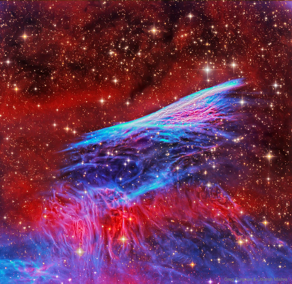 A picture of the Pencil Nebula Supernova Shock Wave  For more details, please read the explanation.