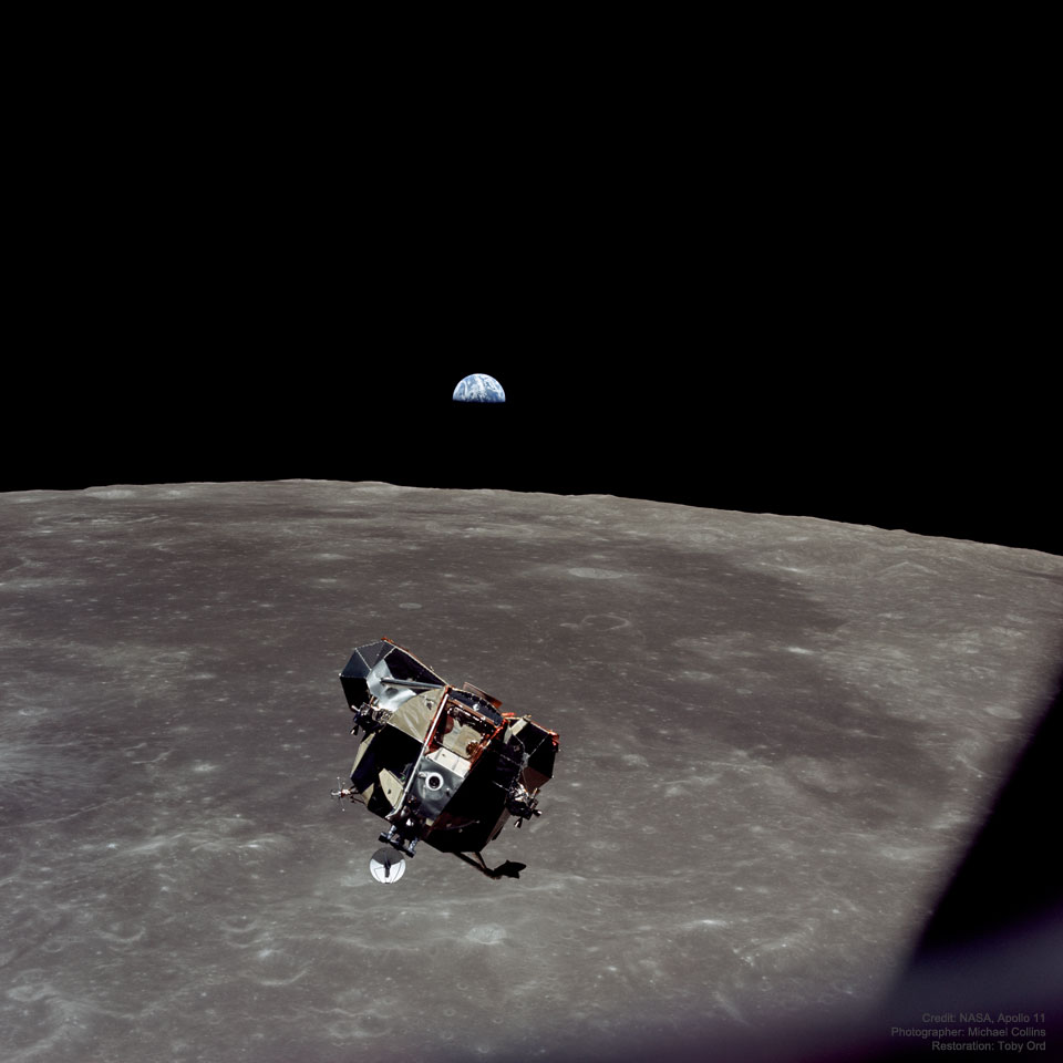 A picture of the Apollo 11 spaceship Eagle returning from the Moon's surface with Earth in the background.  Please see the explanation for more detailed information.