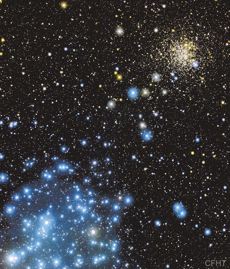 Una imagen de los cúmulos estelares M35 y NGC 2158. Consulte la explicación para obtener información más detallada.