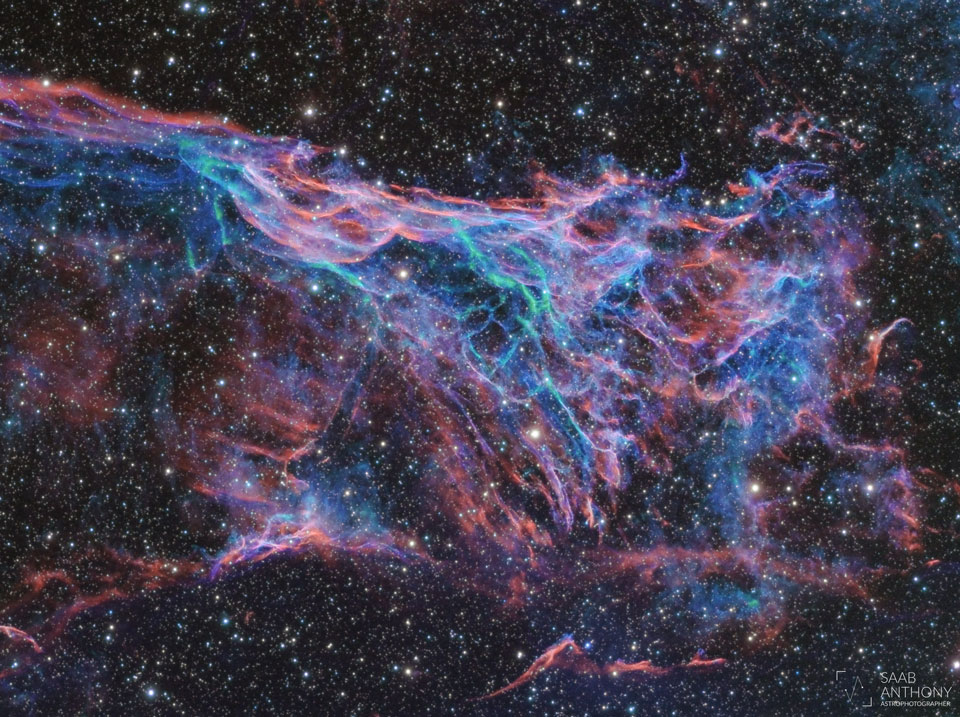The picture shows Fleming's Triangular Wisp, part of the Veil  Nebula supernova remnant.   Please see the explanation for more detailed information.