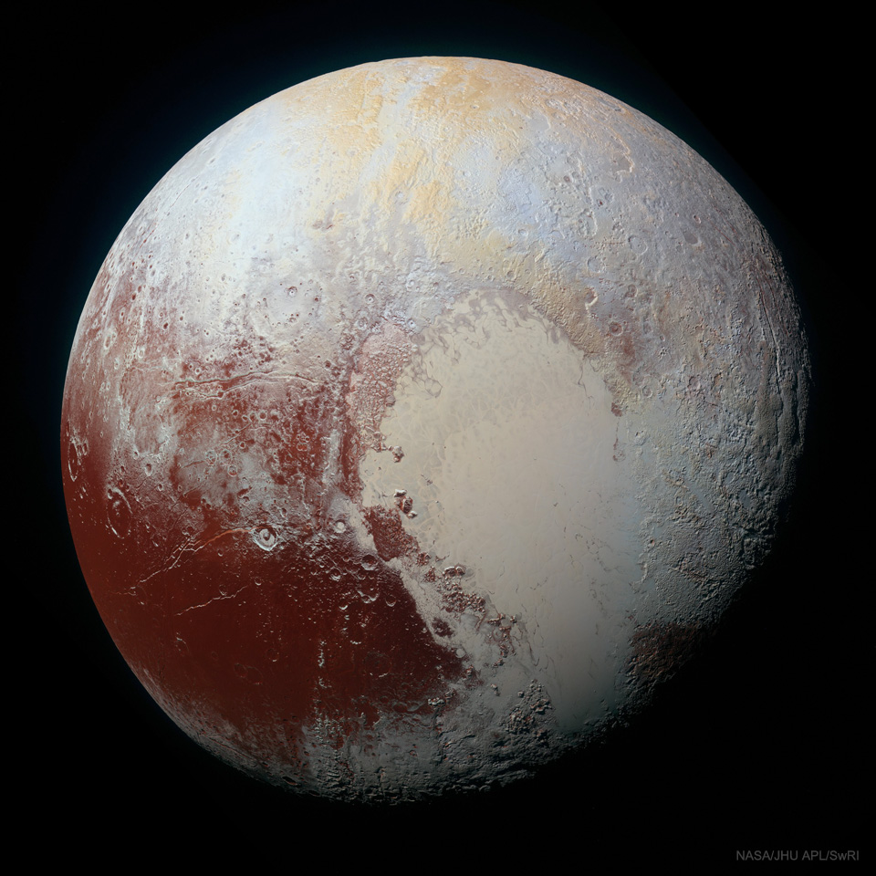 The picture shows Pluto in enhanced colors and high resolution and seen by the passing New Horizons spacecraft in 2015. Please see the explanation for more detailed information.