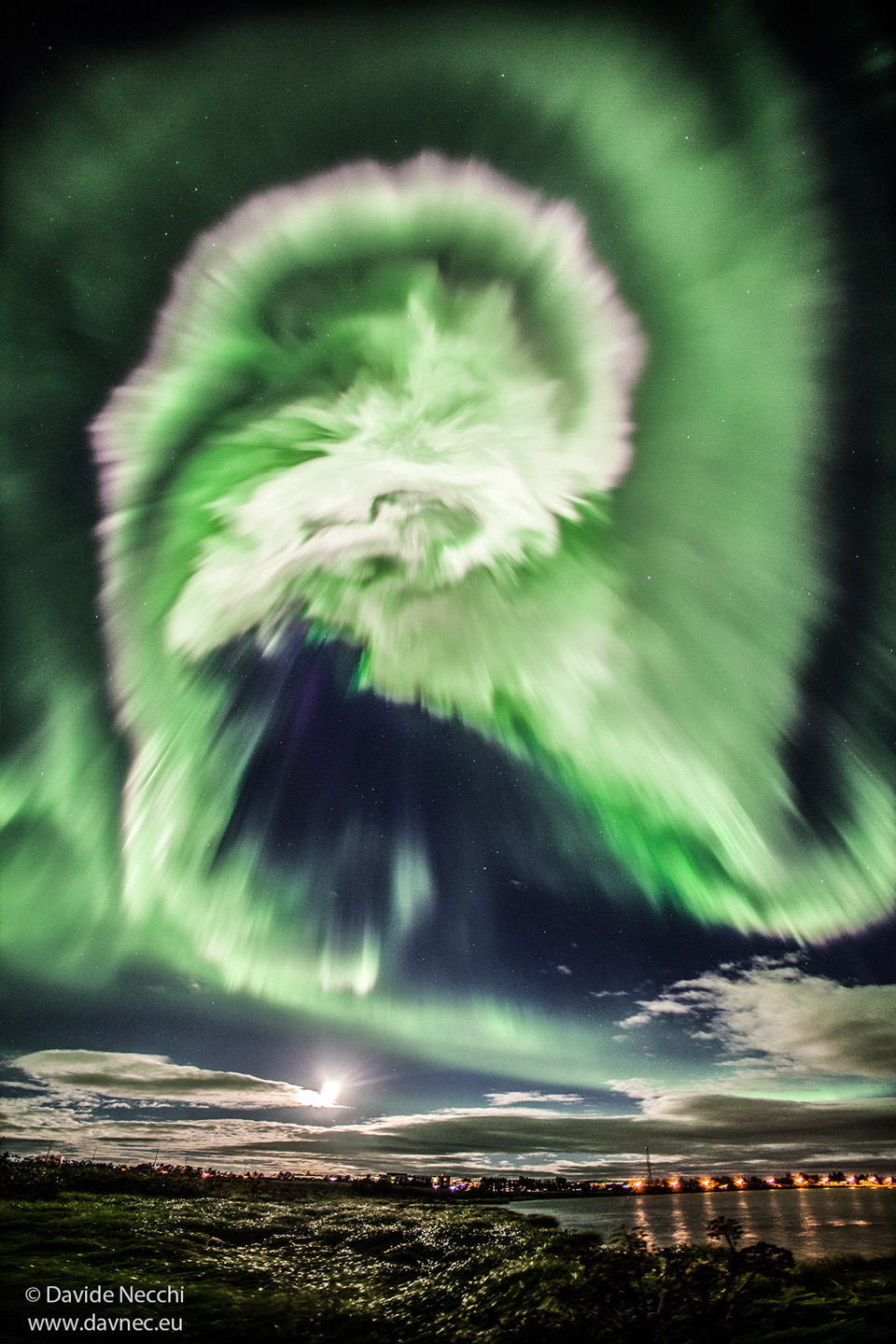The picture shows a dramatic spiral-shaped aurora over Iceland. Please see the explanation for more detailed information.