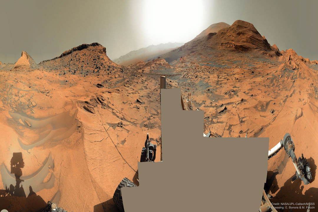 The picture shows a panorama of the surface of Mars taken in early 2021 September from NASA's Curiosity rover. Please see the explanation for more detailed information.