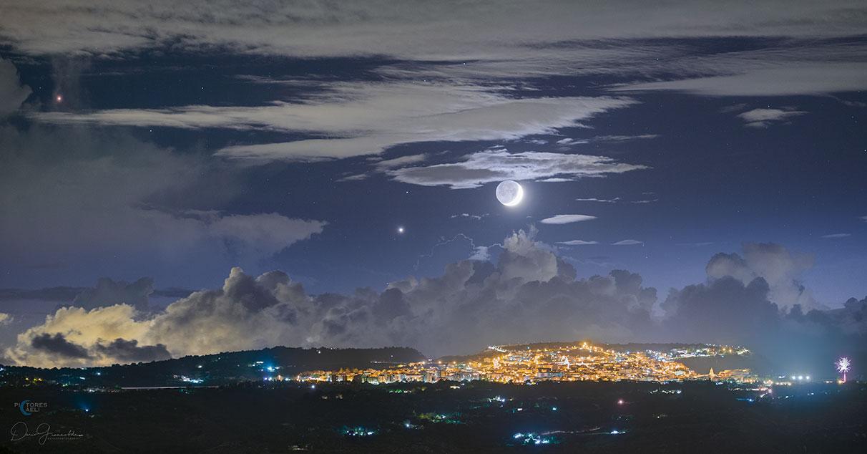 Earthshine Moon over Sicily