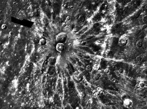 El cráter rayo Degas en Mercurio
