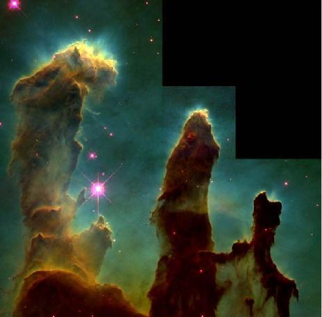 Glóbulos gaseosos en la Nebulosa del Águila