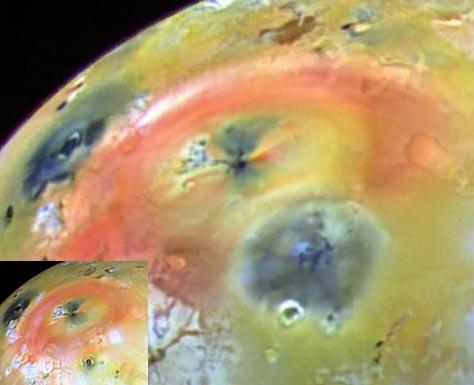 Volcán oscuro activo en Io