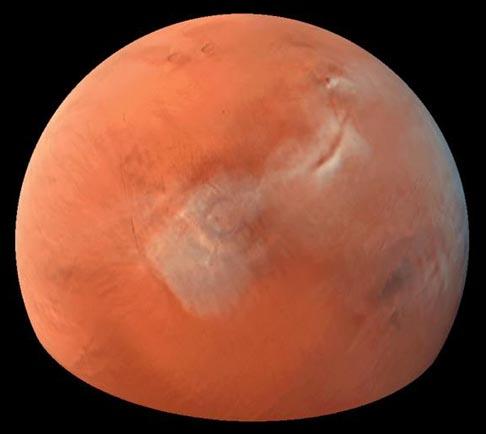 Nubes sobre Tharsis en Marte