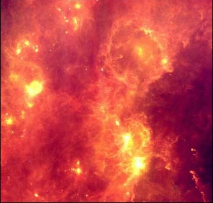 Картинка получеОрионана на основе обзорных наблюдений Инфракрасного астрономического спутника и составлена из снимков...