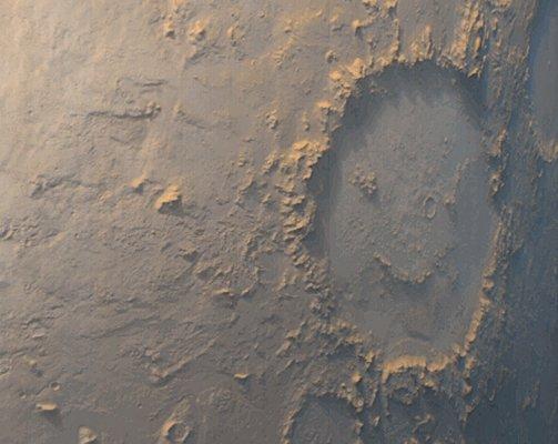 Cráter con cara sonriente en Marte