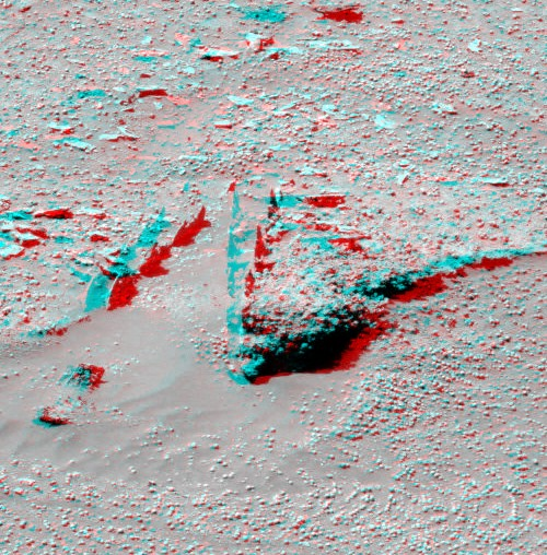 Stereo image of the surface of Mars.