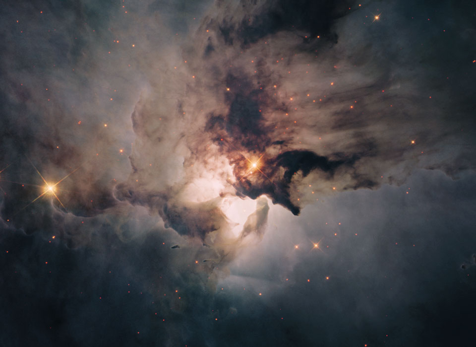 In the Center of the Lagoon Nebula     -  The center of the Lagoon Nebula is a